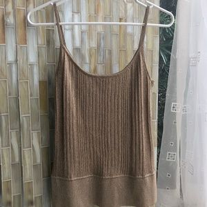 Express Gold Metallic Ribbed Tank Top